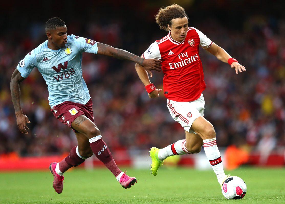 Arsenal defender David Luiz in action against Aston Villa