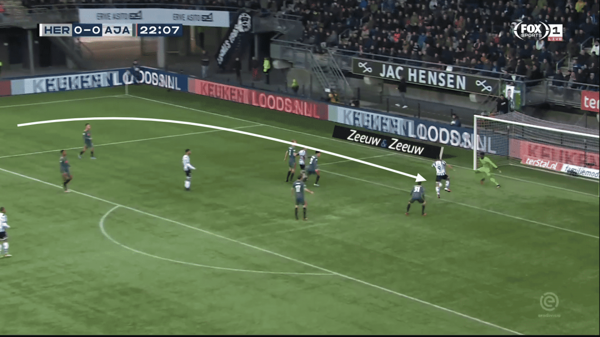 Ajax keeper André Onana in Eredivisie action against Heracles.