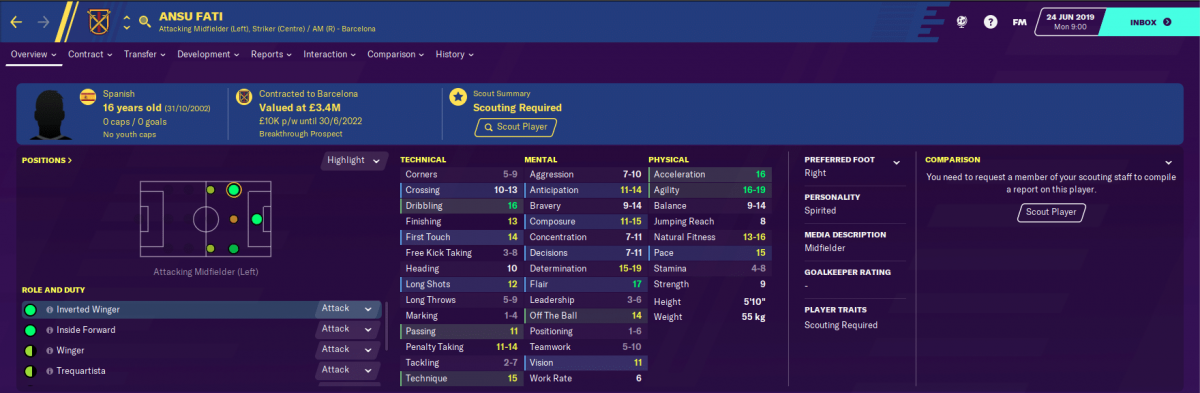 Barcelona winger Ansu Fati on Football Manager 2020.
