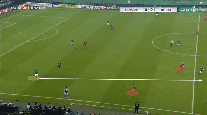 Schalke defender Jean-Clair-Todibo in Bundesliga against against Hertha Berlin.