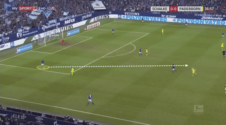 Jean-Clair Todibo in Bundesliga action for Schalke against Paderborn.