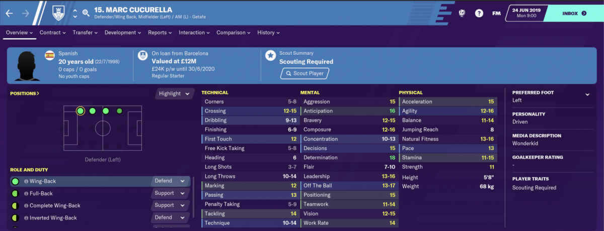 Barcelona defender Marc Cucurella is one of the best young full-backs on Football Manager 2020.