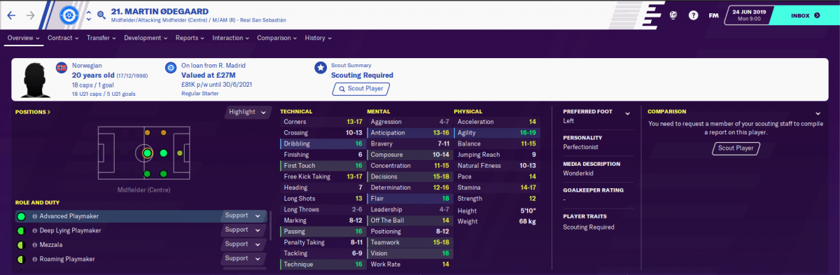Real Sociedad midfielder Martin Ødegaard on Football Manager 2020.