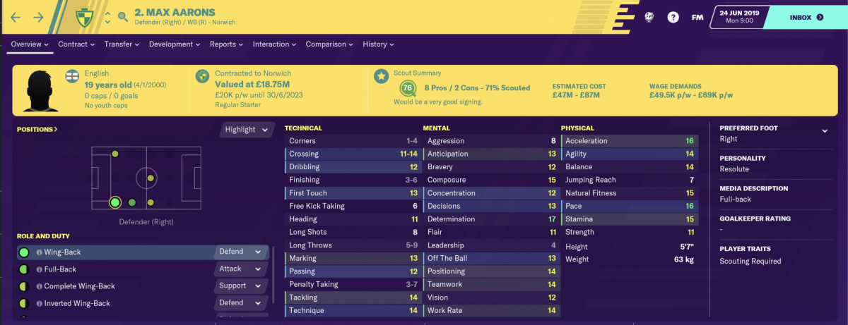 Norwich City defender Max Aarons is one of the best young full-backs on Football Manager 2020.