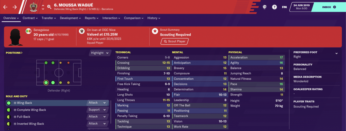 Barcelona defender Moussa Wagué is one of the best young full-backs on Football Manager 2020.