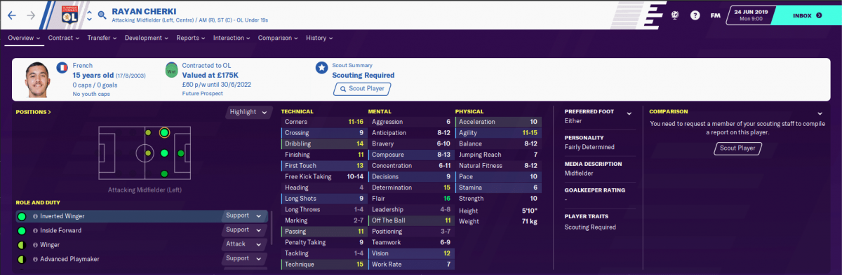 Lyon winger Rayan Cherki on Football Manager 2020.