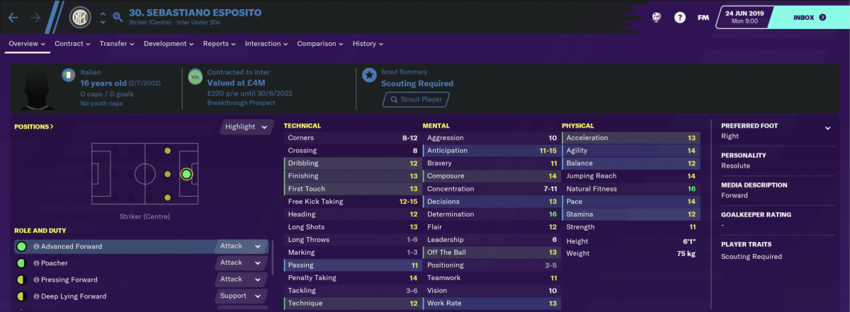 Internazionale striker Sebastiano Esposito on Football Manager 2020.