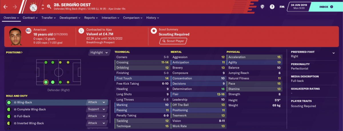 Ajax defender Sergiño Dest is one of the best young full-backs on Football Manager 2020.