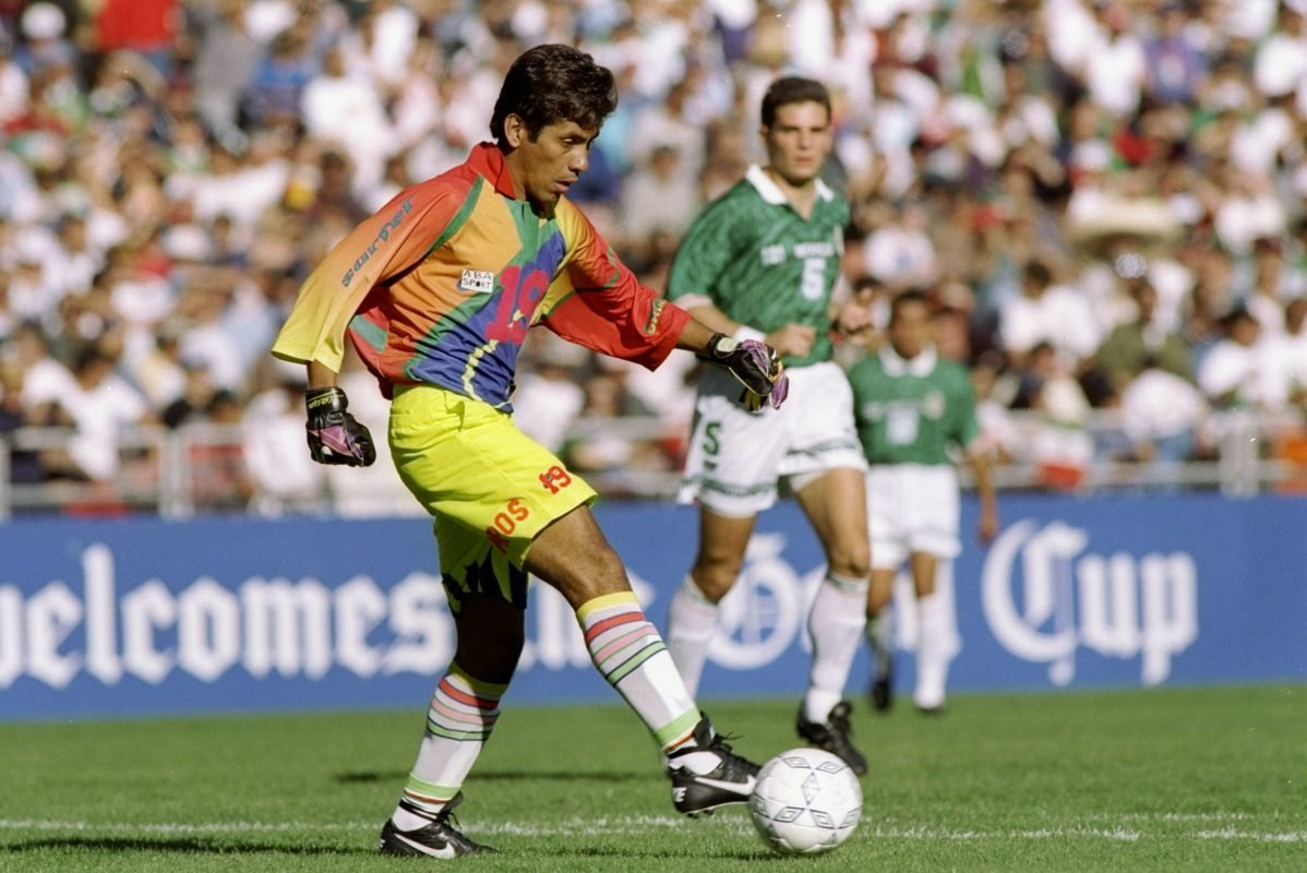 Goalscoring goalkeeper Jorge Campos in action for Mexico