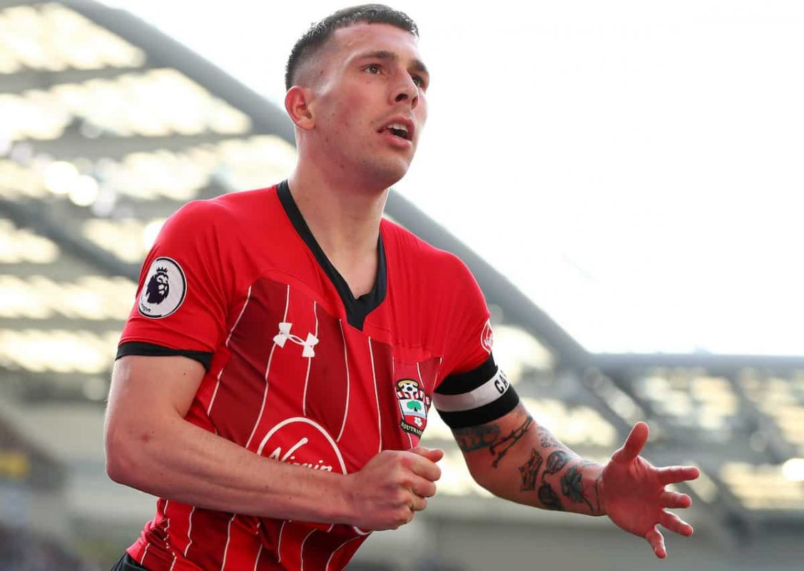 Pierre-Emile Højbjerg of Southampton celebrates after scoring against Brighton & Hove Albion